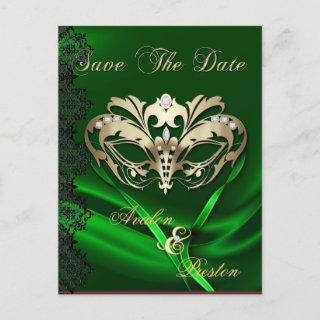 Gold Masquerade Green Jewel Save The Date Postcard