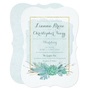 Gold Mint Floral Watercolor Wedding Invitations