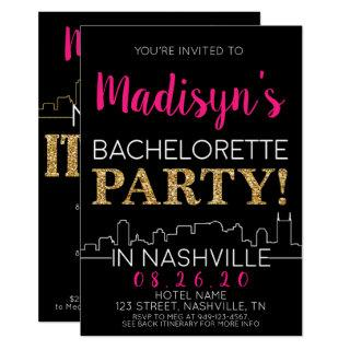 Gold Nashville Bachelorette Party Itinerary and Invitation