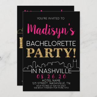 Gold Nashville Bachelorette Party Itinerary and Invitations