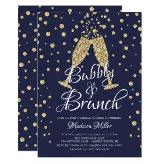 Gold & Navy Bubbly & Brunch Bridal Shower Invitations