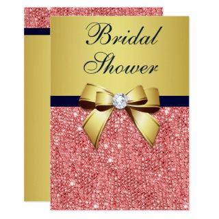 Gold Navy Coral Sequins Diamonds Bow Bridal Shower Invitation