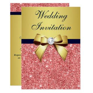 Gold Navy Coral Sequins Diamonds Bow Wedding Invitations