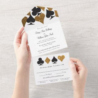 Gold on White Faux Glitter Las Vegas Wedding All In One
