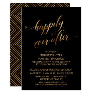 Gold over Black Happily Ever After Post Wedding Invitations
