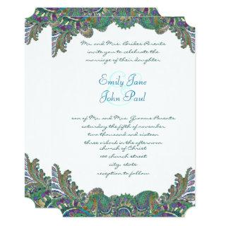 Gold Paisley Peacock Colors Wedding Invitations