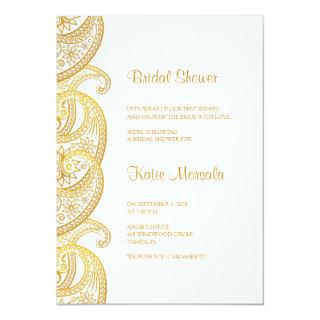 Gold Paisley Traditional Indian Bridal Shower Invitations