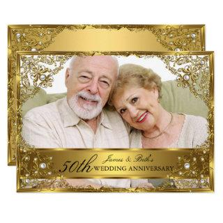 Gold Pearl Damask Photo 50th Wedding Anniversary Invitation