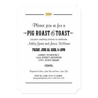 Gold Pig Roast & Toast | Couple's Wedding Shower Invitations