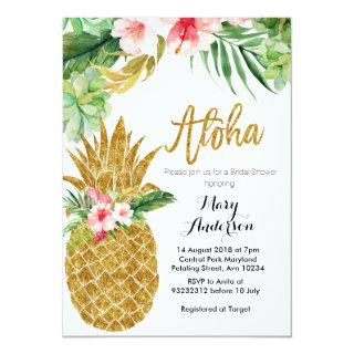 Gold Pineapple Bridal Shower Invitations Succulent