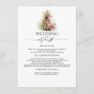 Gold Pineapple Wedding Information Guest Enclosure Card