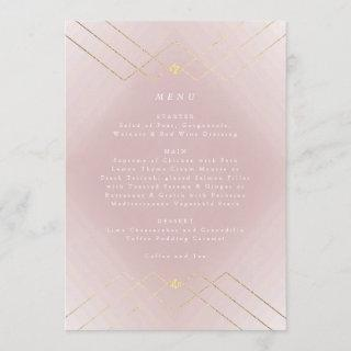 Gold Pink Elegance Diamond Geo Deco Wedding Menu