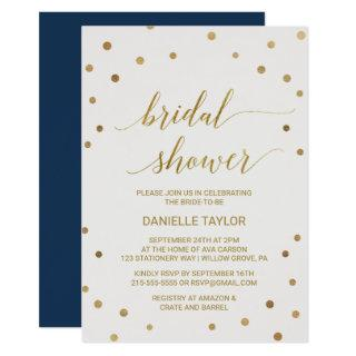 Gold Polka Dots Bridal Shower Invitations