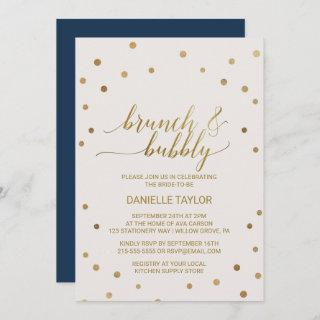 Gold Polka Dots Brunch and Bubbly Invitations