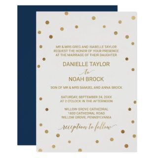 Gold Polka Dots Formal Wedding Invitation