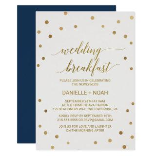 Gold Polka Dots Wedding Breakfast Invitations