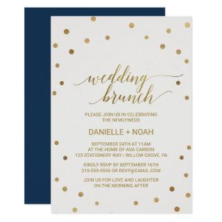 Gold Polka Dots Wedding Brunch Invitations