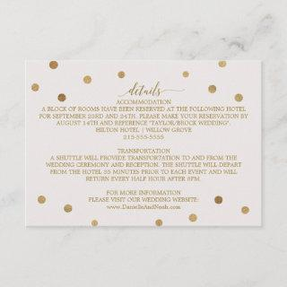 Gold Polka Dots Wedding Details Enclosure Card