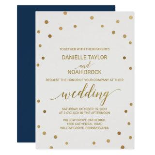 Gold Polka Dots Wedding Invitations