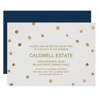 Gold Polka Dots Wedding Reception Insert Invitations