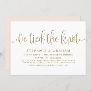 Gold Pretty Calligraphy We Tied The Knot Wedding Invitation