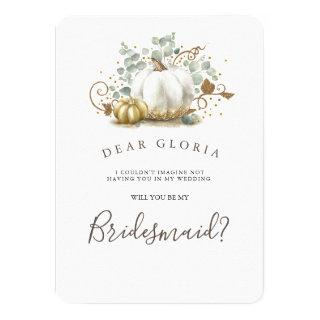 Gold Pumpkin Fall Wedding Bridesmaid Proposal Invitation