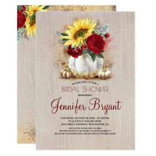 Gold Pumpkin Floral Vase Rustic Fall Bridal Shower Invitations