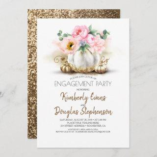 Gold Pumpkin Pink Floral Fall Engagement Party Invitations