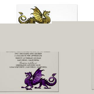 Gold Purple Dragon Wedding Invite