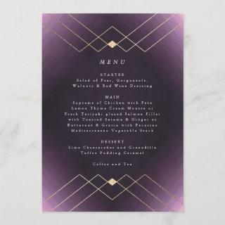 Gold Purple Elegance Diamond Geo Deco Wedding Menu
