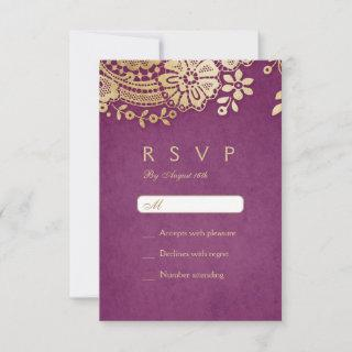 Gold purple elegant vintage lace wedding RSVP