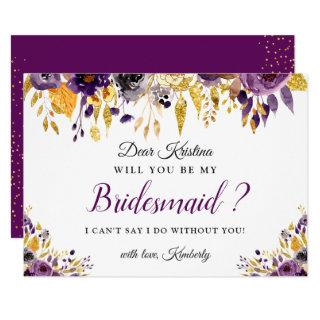 Gold Purple Floral Will You Be My Bridesmaid Invitations