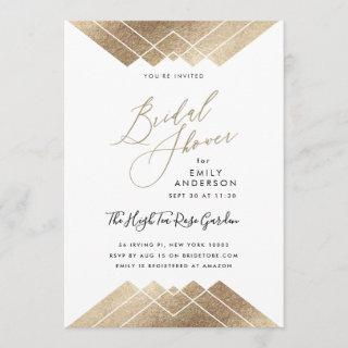 Gold Pyramid Geometric Gatsby Bridal Shower Invitations