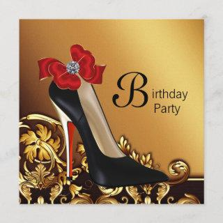 Gold Red Black High Heel Shoe Birthday Party