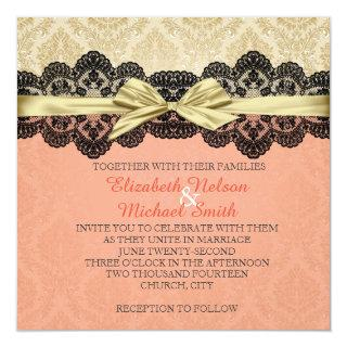 Gold Ribbon Damask Lace Coral Wedding Invite
