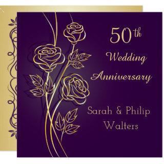 Gold roses on purple 50th Anniversary Invitations