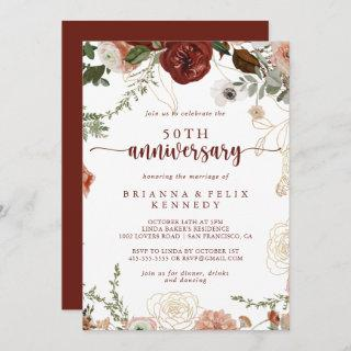 Gold Rustic Floral 50th Wedding Anniversary