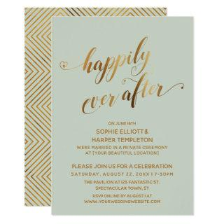 Gold & Sage Green Happily Ever After Post Wedding Invitation
