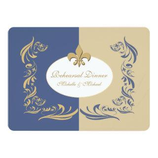 Gold Sand and Ice Blue Fleur de Lis Wedding Event Invitations