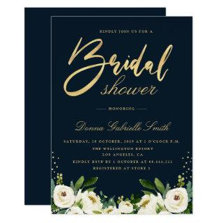 gold script ivory white floral navy bridal shower invitation