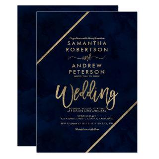 Gold script stripes navy blue watercolor wedding invitation