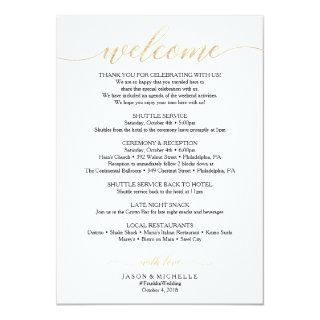 Gold Script Wedding Itinerary - Wedding Welcome Invitation