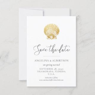 Gold Seashell and Blush Pink Save the Date