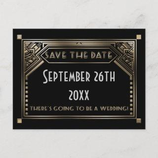 Gold Shaded Gatsby Art Deco Wedding Save the Date Announcement Postcard
