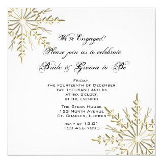 Gold Snowflake on White Winter Engagement Party Invitation