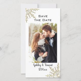 Gold Snowflake Winter Wedding Save the Date Photo