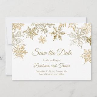 Gold Snowflakes Christmas Theme Winter Wedding Save The Date