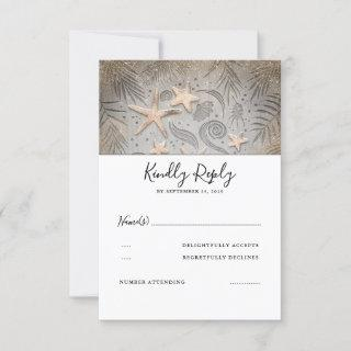 Gold Starfish Beach Wedding RSVP