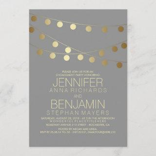 Gold String Lights Modern Engagement Party Invitations