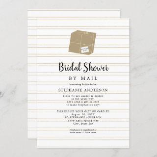 Gold Stripe + shipping box Bridal Shower by mail Invitation